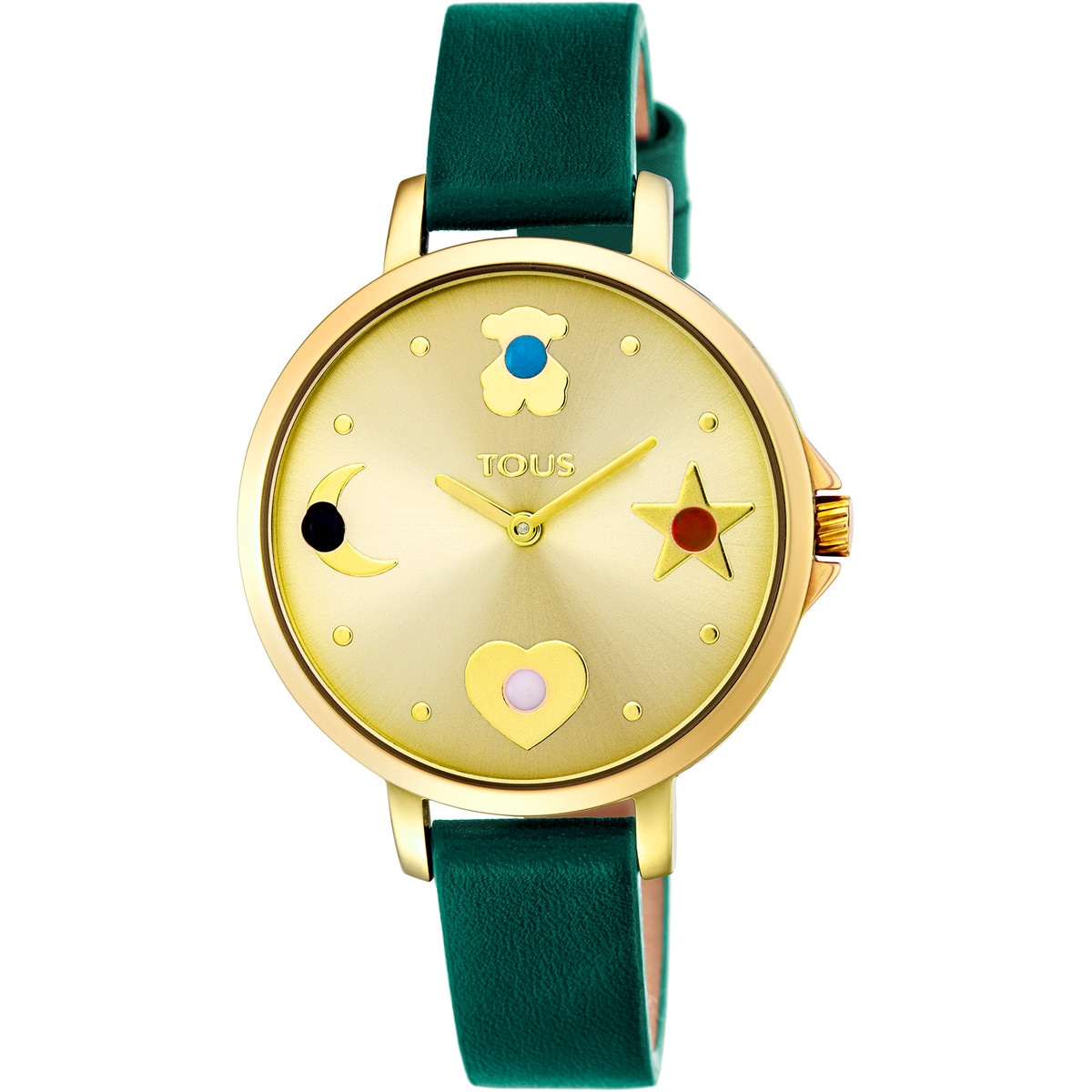 Gold IP steel Super Power Watch with green leather strap