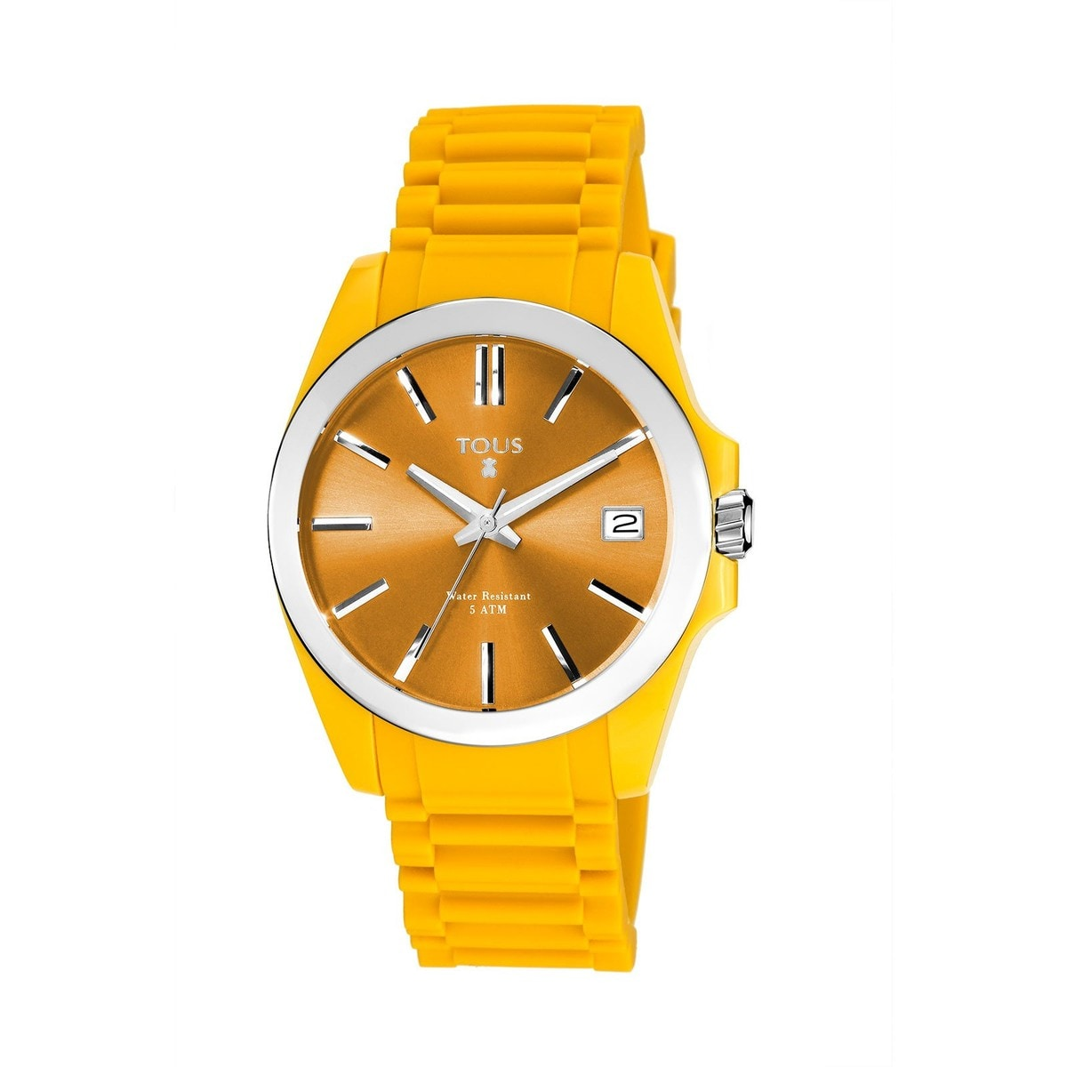 Steel Drive Fun Watch with banana colored Silicone strap