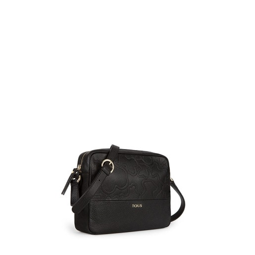 Black colored Leather Lake Crossbody bag
