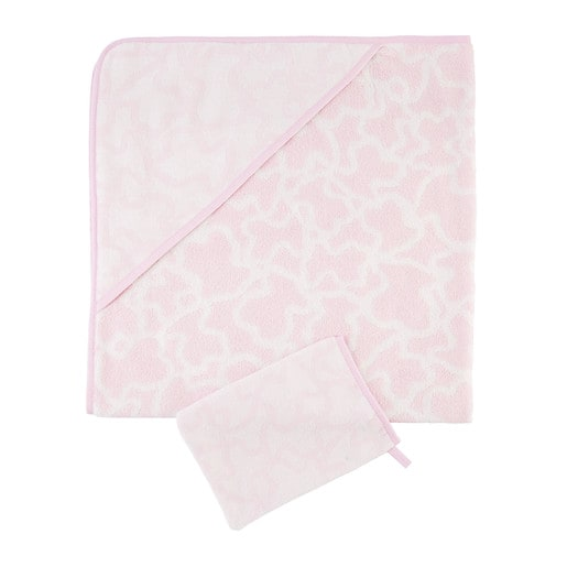 Kaos bath sheet and mittens in pink