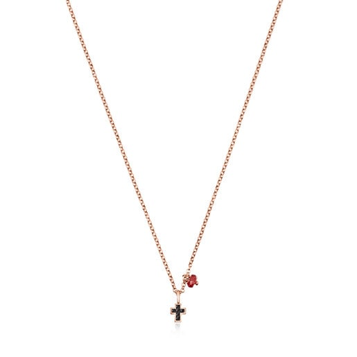 Motif cross Necklace in Rose Silver Vermeil with Spinels and Ruby