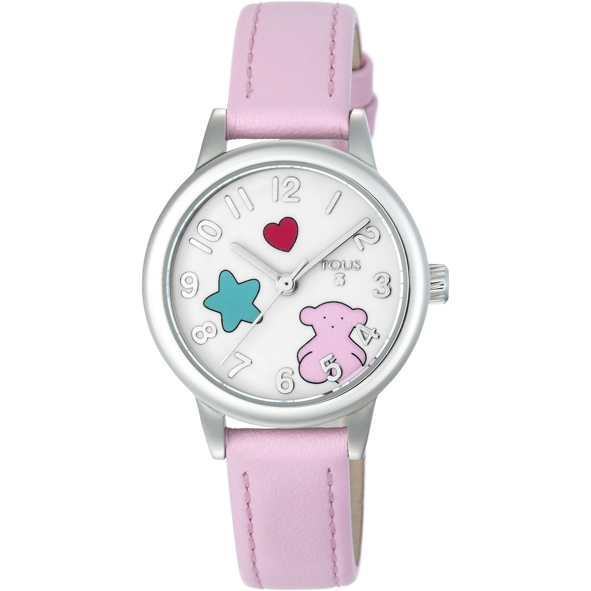 Steel Muffin Watch with pink Leather strap