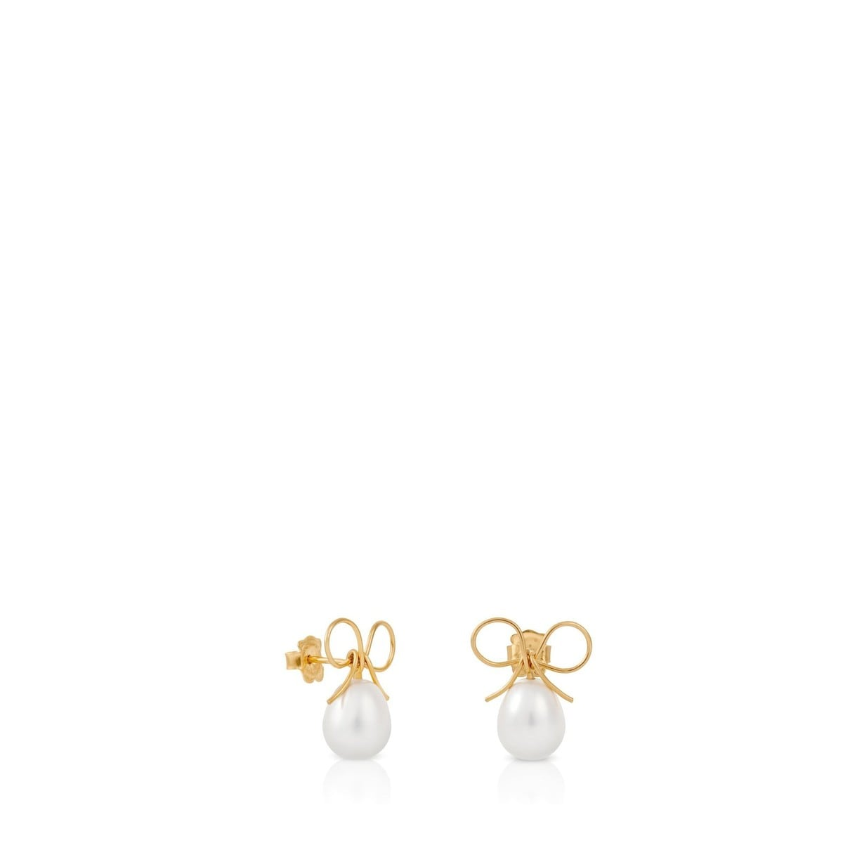 Gold Lazo Earrings with Pearl