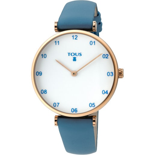 Pink IP Steel Camille Watch with blue Leather strap