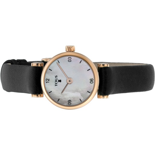 Pink IP Steel Camille Watch with Mother-of-pearl and black Leather strap