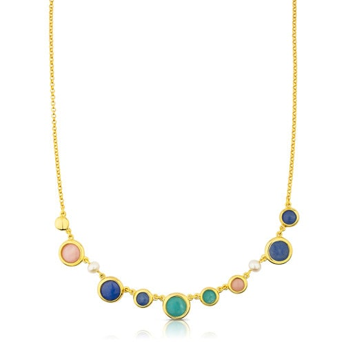 Vermeil Silver Alecia Necklace with Amazonite, Rose Opal, Quartz with Dumortierite and Pearl