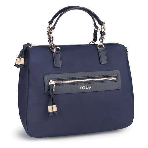 Navy colored Canvas Brunock Chain Bowling bag