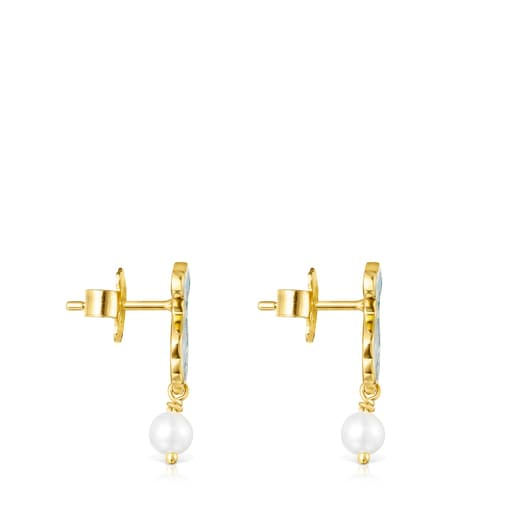Minifiore Earrings in Silver Vermeil, Pearl and Murano Glass