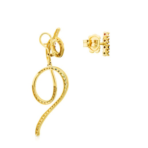Gold Lio Earrings with Gemstones