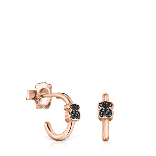 Motif Earrings in Rose Silver Vermeil with Spinels