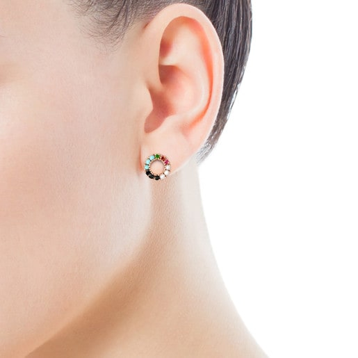 Straight small disc Earrings in Rose Silver Vermeil with Gemstones