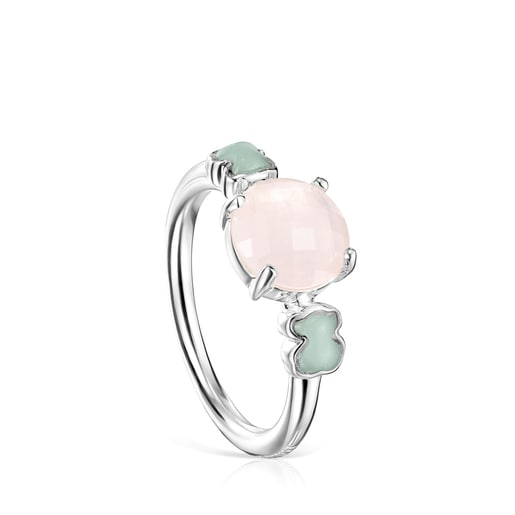 Mini Color Ring in Silver with Pink Quartz and Amazonite