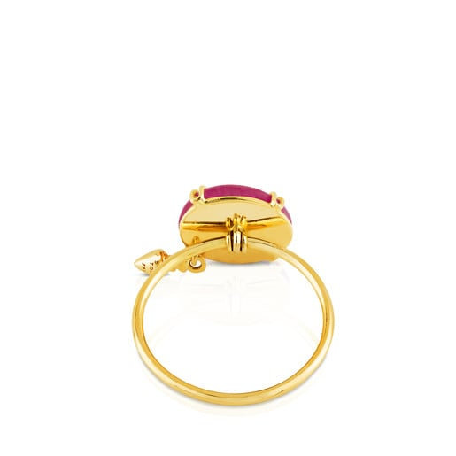 Gold Beethoven Ring with Ruby