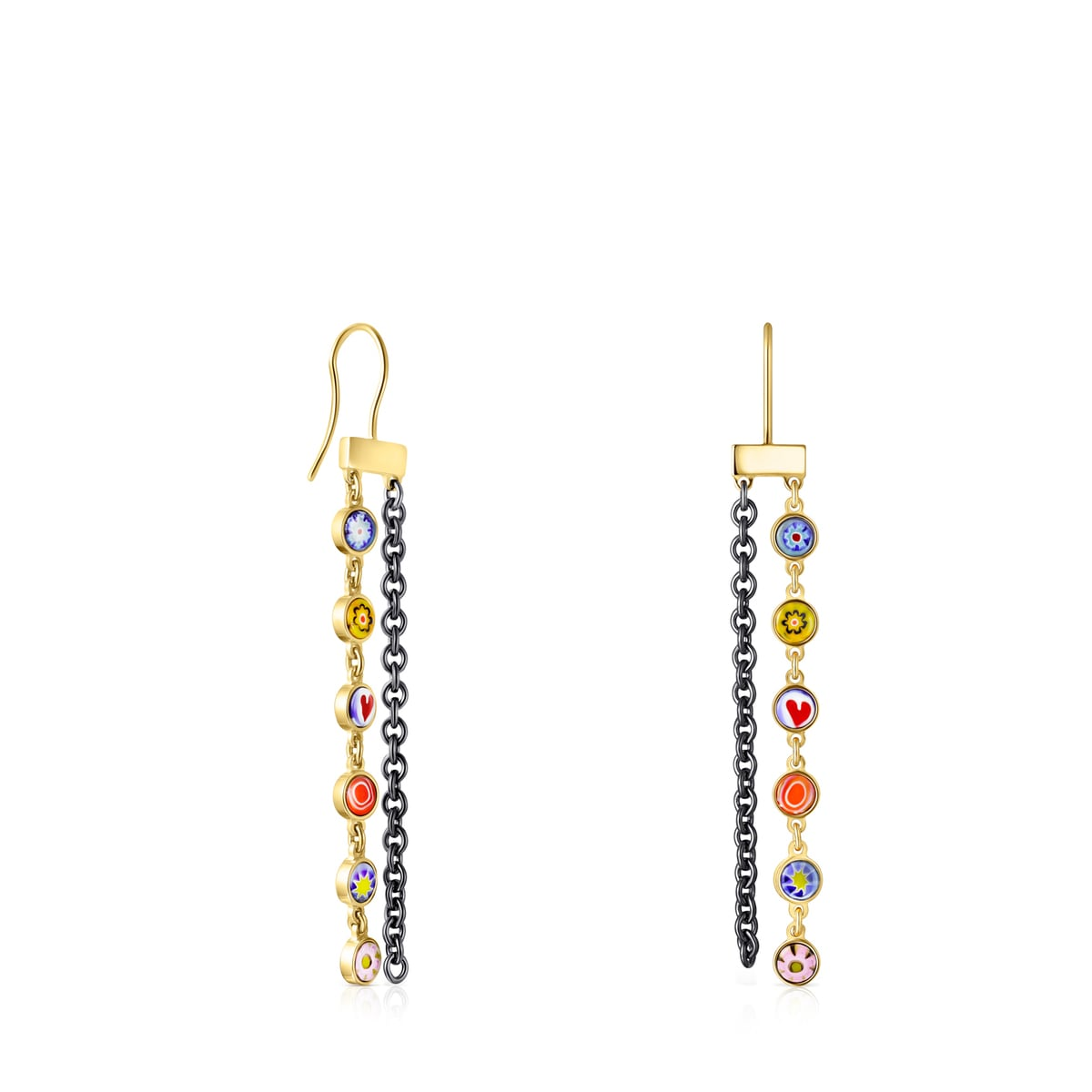 Long Minifiore Earrings in Gold Vermeil, Dark Silver and Murano Glass