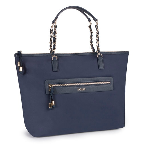 Navy colored Canvas Brunock Chain Tote bag