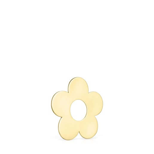 Small Hold Metal Silver Vermeil Flower Pendant