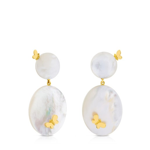 Gold Bera Butterfly Earrings with Mother-of-pearl