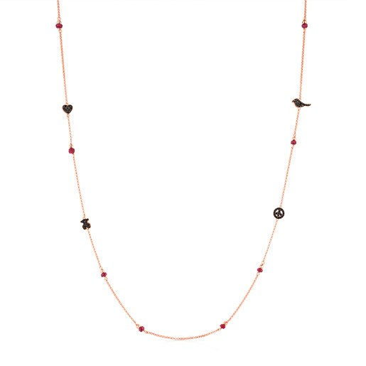 Rose Vermeil Silver Motif Necklace with Spinel and Ruby