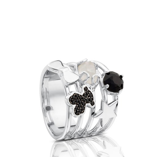 Silver Join Ring with Gemstones