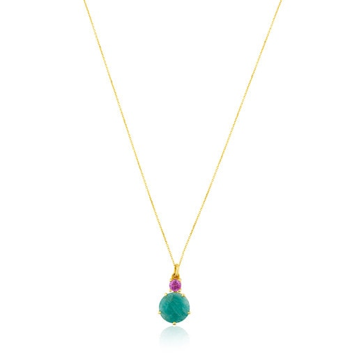 Gold Ivette Necklace with Amazonite and Ruby