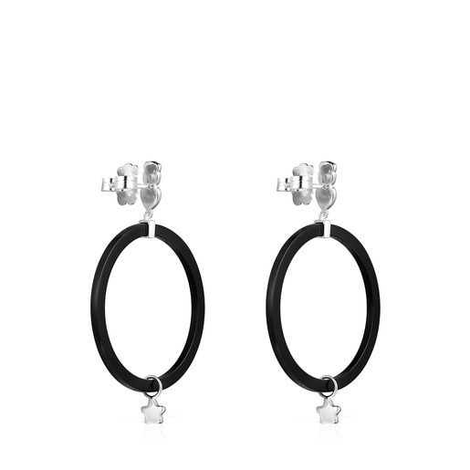 Small Mini Onix Earrings in Resin with Silver and Onyx