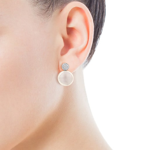 White Gold Alecia Earrings with Diamond and Pearl