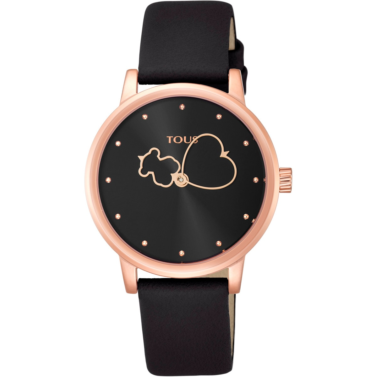 Rose IP steel Bear Time Watch with black Leather strap