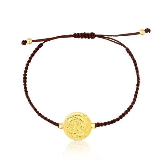 Vermeil Silver Rubric Bracelet with brown Cord