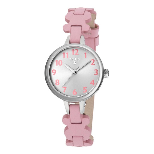 Steel New Cruise Watch with pink Leather strap