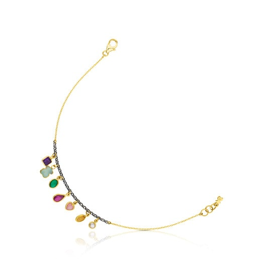 Gold and Silver Gem Power Bracelet with Gemstones