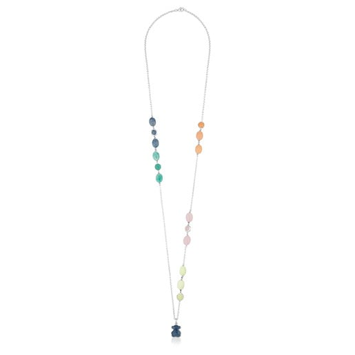 Silver New Color Necklace with Gemstones