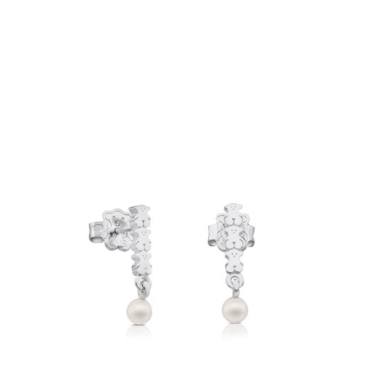 Silver Straight Earrings with Pearl