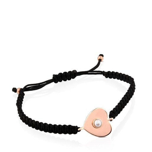 Rose Vermeil Silver Super Power Bracelet with Cord and Pearl