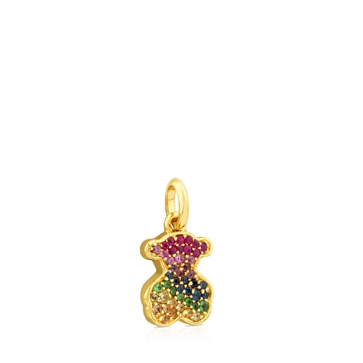 Gold Icon Gems Pendant with multicolor Sapphire Bear motif