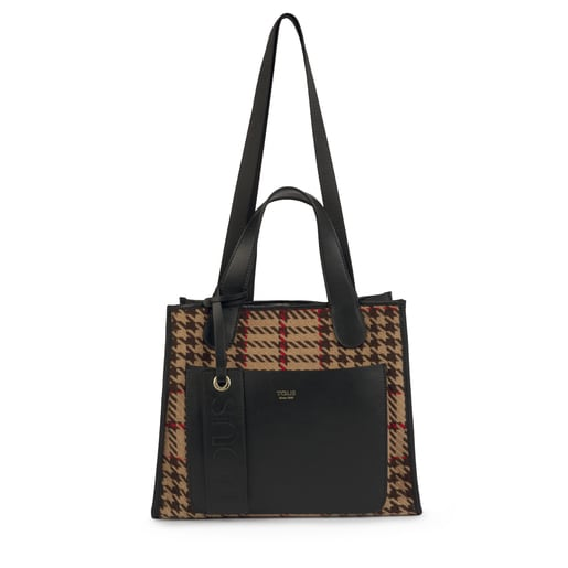 Reversible medium leather multi-camel Leissa tote bag