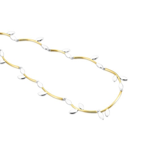 Silver Vermeil and Silver Real Mix Leaf Necklace