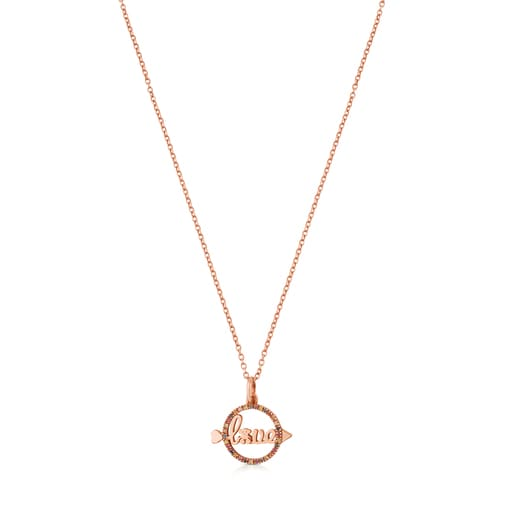 Rose Vermeil Silver San Valentin Necklace with Sapphire