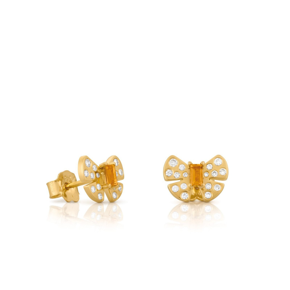 Gold Noa Earrings with Diamond and Citrine