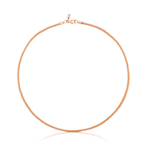 Rose Vermeil Silver TOUS Choker and pink Cord