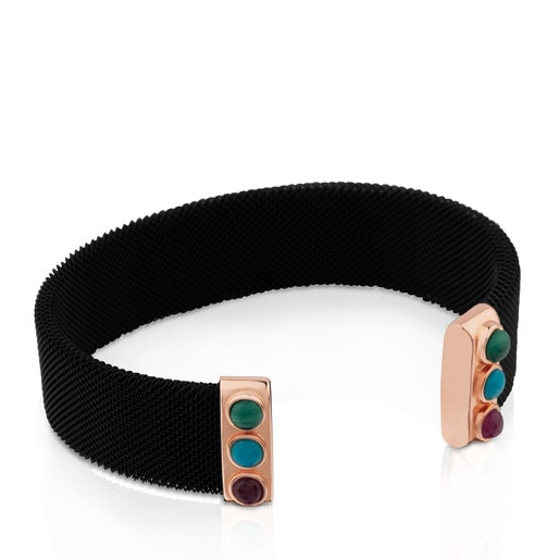 Steel and Rose Vermeil Silver Super Power Bracelet with Malachite, Turquoise and Ruby