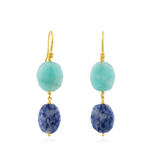 Vermeil Silver Terra Earrings with Amazonite and Sodalite