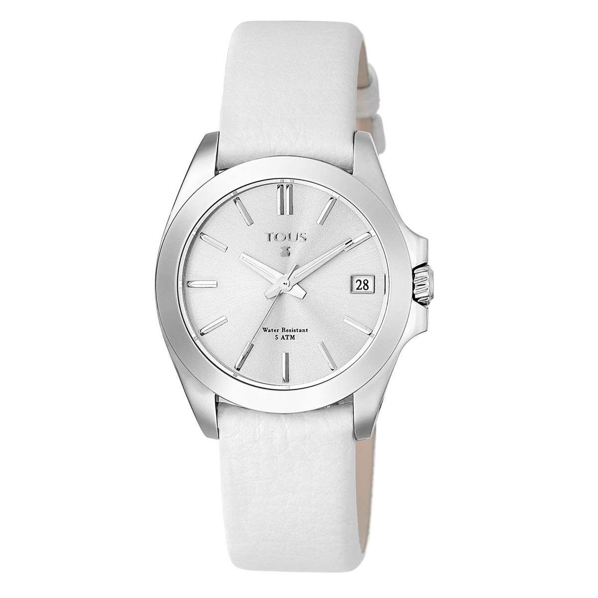 Steel Drive 34 Watch with ivory colored Leather strap