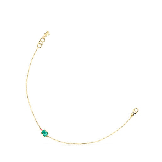 Gold TOUS Color Bracelet with Amazonite and Ruby