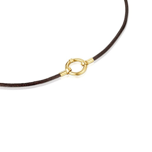 Gold and brown Leather Hold Necklace