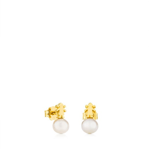 Gold Puppies Earrings with Pearl