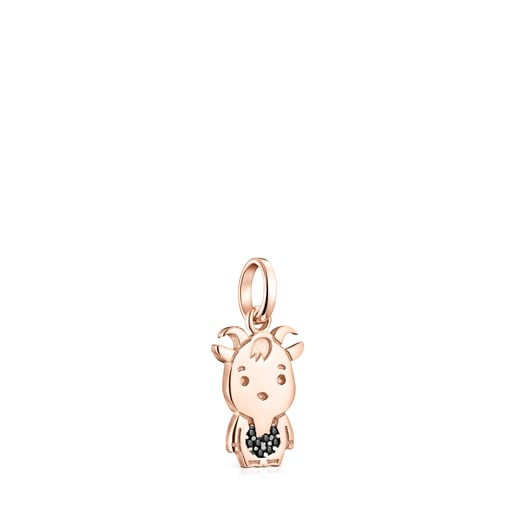 Chinese Horoscope Goat Pendant in Rose Silver Vermeil with Spinel