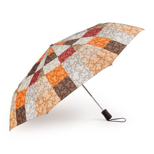 Parapluie pliant Kaos Cuadrados de couleurs orange et marron