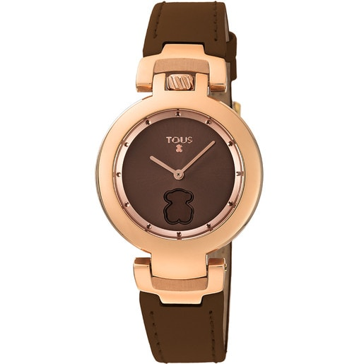 Rose IP Steel Crown Watch with brown Leather strap