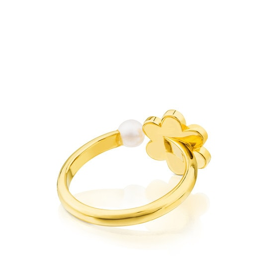 Vermeil Silver Happy Moments Ring with Pearl and Enamel