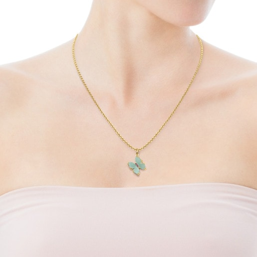 Gold with Amazonite and Ruby Vita butterfly Pendant